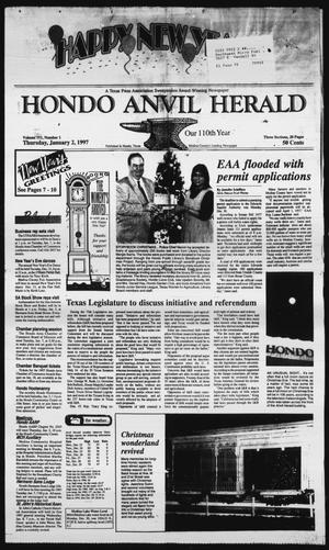 Primary view of object titled 'Hondo Anvil Herald (Hondo, Tex.), Vol. 111, No. 1, Ed. 1 Thursday, January 2, 1997'.