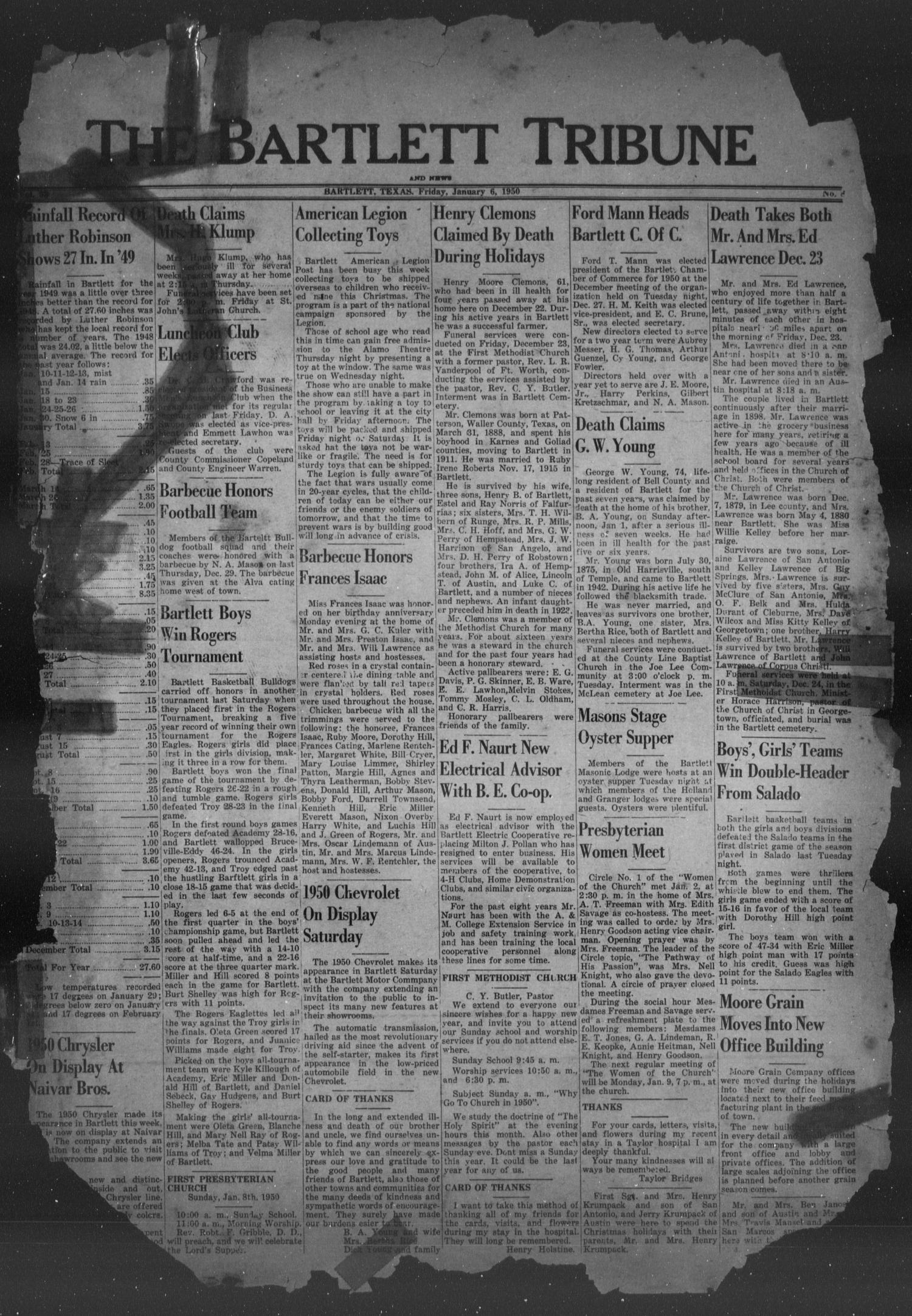 The Bartlett Tribune and News (Bartlett, Tex.), Vol. 63, No. 8, Ed. 1, Friday, January 6, 1950                                                                                                      [Sequence #]: 1 of 8