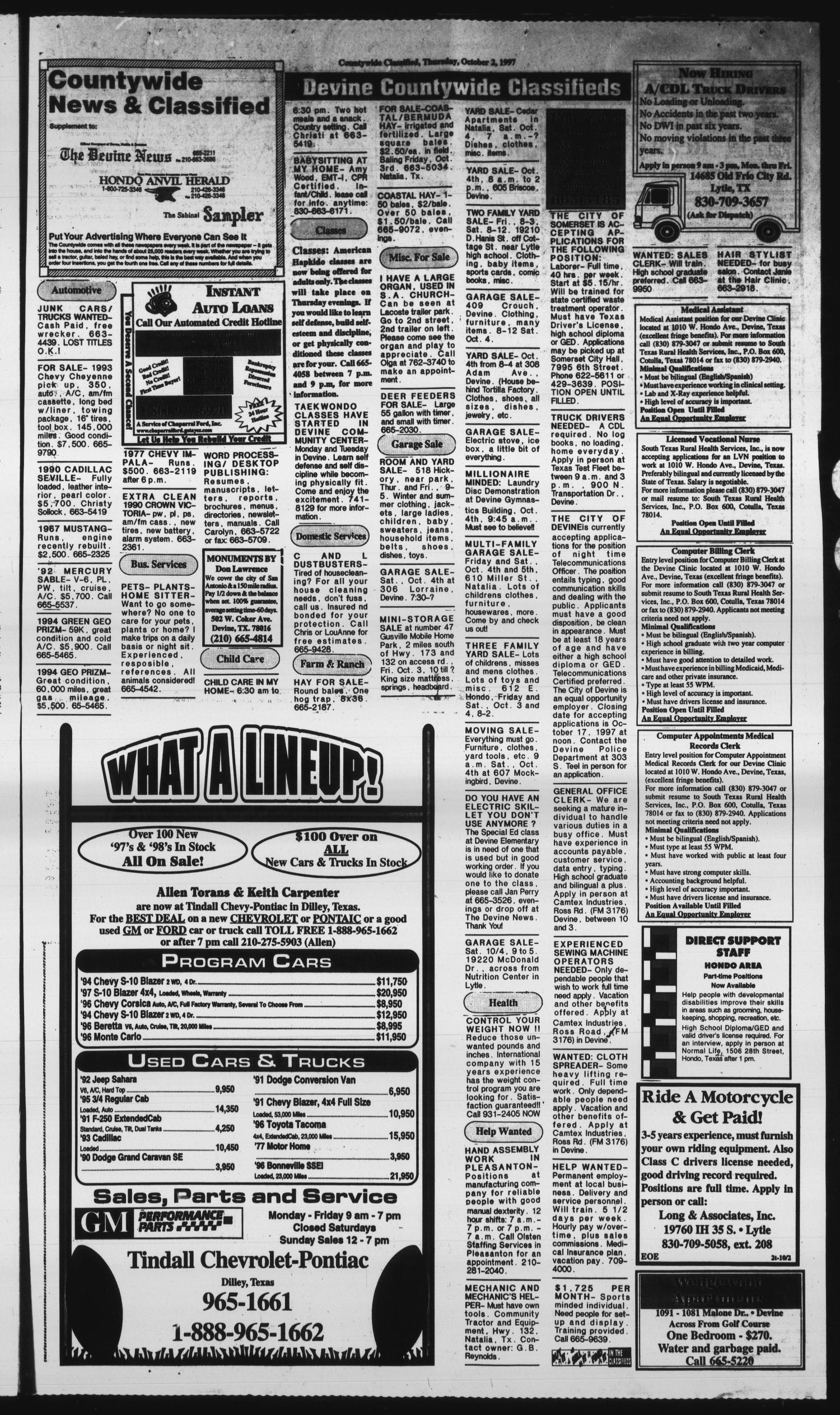 Hondo Anvil Herald Tex Vol 111 No 40 Ed 1 Thursday October 2 1997