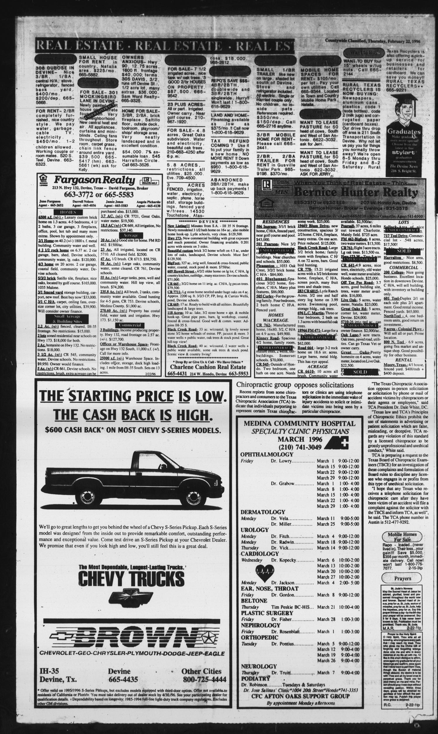 Hondo Anvil Herald Tex Vol 110 No 8 Ed 1 Thursday February 22 1996