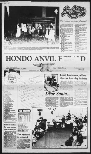 Primary view of object titled 'Hondo Anvil Herald (Hondo, Tex.), Vol. 106, No. 52, Ed. 1 Thursday, December 24, 1992'.