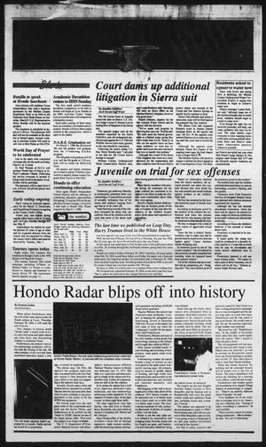 Primary view of object titled 'Hondo Anvil Herald (Hondo, Tex.), Vol. 110, No. 9, Ed. 1 Thursday, February 29, 1996'.