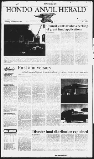 Primary view of Hondo Anvil Herald (Hondo, Tex.), Vol. 116, No. 41, Ed. 1 Thursday, October 10, 2002