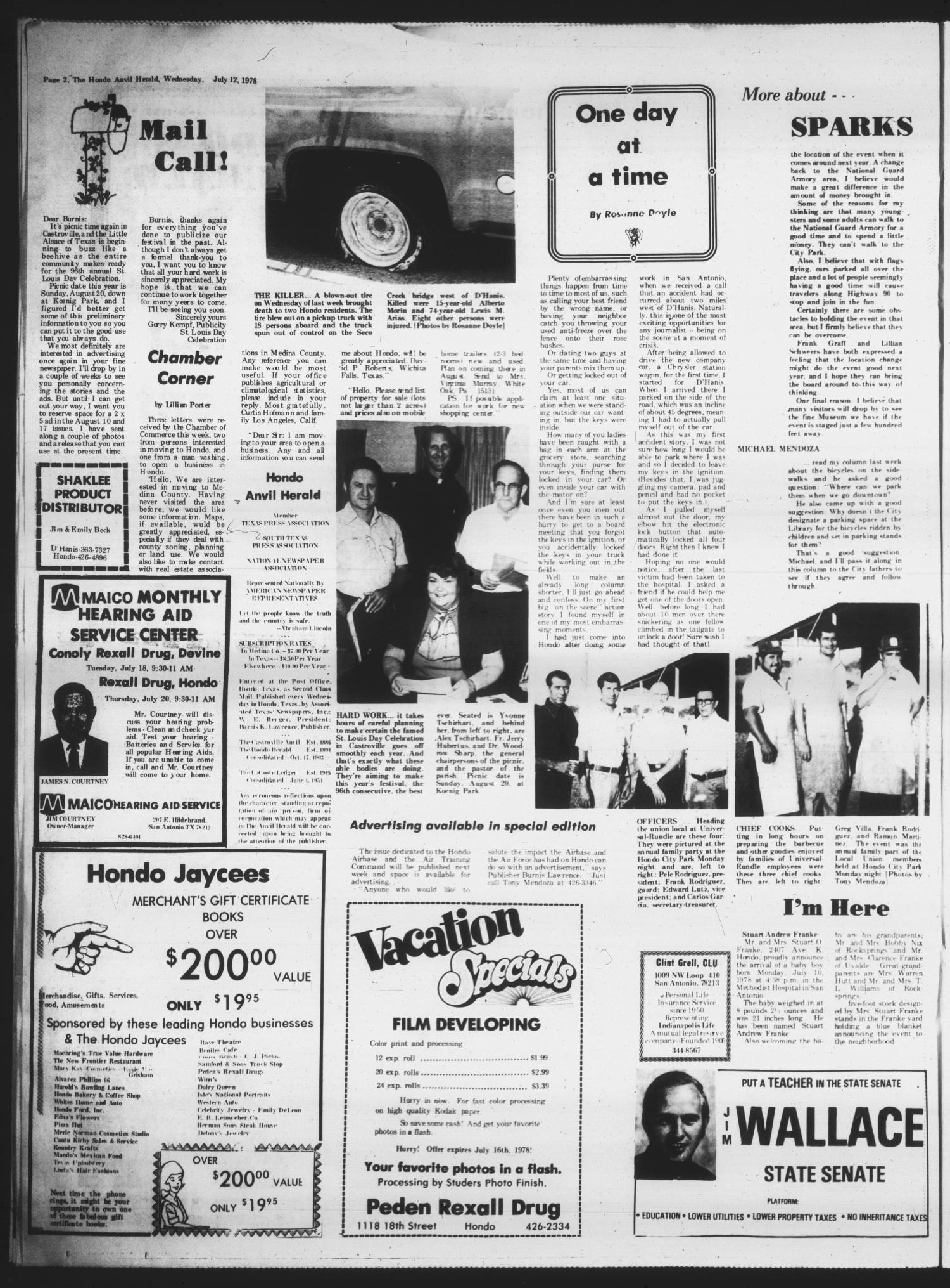 The Hondo Anvil Herald (Hondo, Tex.), Vol. 90, No. 28, Ed. 1 Wednesday, July 12, 1978                                                                                                      [Sequence #]: 2 of 14