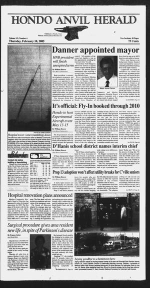 Primary view of object titled 'Hondo Anvil Herald (Hondo, Tex.), Vol. 29, No. 6, Ed. 1 Thursday, February 10, 2005'.