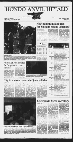 Primary view of object titled 'Hondo Anvil Herald (Hondo, Tex.), Vol. 119, No. 12, Ed. 1 Thursday, March 24, 2005'.