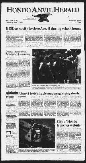Primary view of object titled 'Hondo Anvil Herald (Hondo, Tex.), Vol. 119, No. 23, Ed. 1 Thursday, June 9, 2005'.