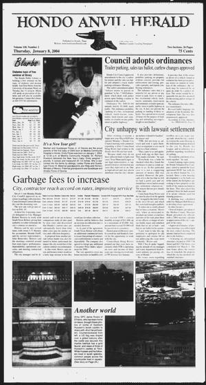 Primary view of object titled 'Hondo Anvil Herald (Hondo, Tex.), Vol. 118, No. 2, Ed. 1 Thursday, January 8, 2004'.