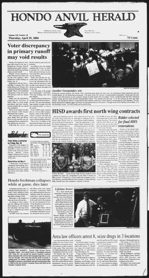 Primary view of object titled 'Hondo Anvil Herald (Hondo, Tex.), Vol. 118, No. 18, Ed. 1 Thursday, April 29, 2004'.