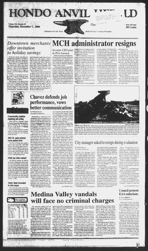 Primary view of object titled 'Hondo Anvil Herald (Hondo, Tex.), Vol. 128, No. 49, Ed. 1 Thursday, December 7, 2000'.