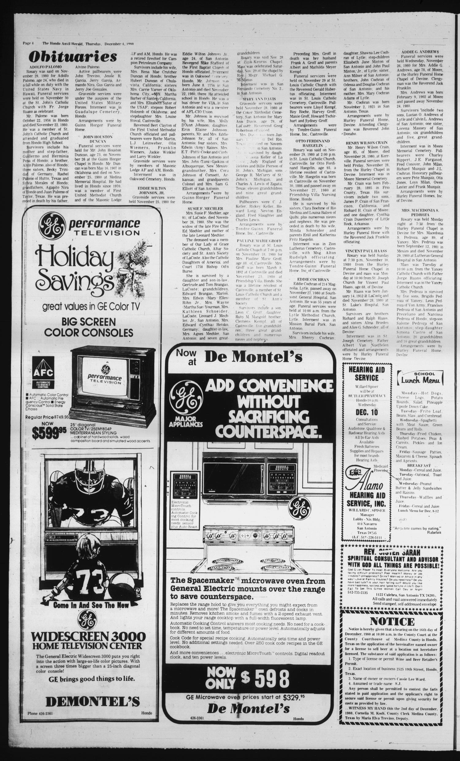 The Hondo Anvil Herald (Hondo, Tex.), Vol. 94, No. 49, Ed. 1 Thursday, December 4, 1980                                                                                                      [Sequence #]: 4 of 22