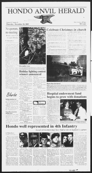 Primary view of object titled 'Hondo Anvil Herald (Hondo, Tex.), Vol. 117, No. 51, Ed. 1 Thursday, December 18, 2003'.