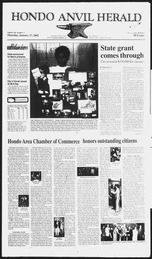 Primary view of object titled 'Hondo Anvil Herald (Hondo, Tex.), Vol. 116, No. 3, Ed. 1 Thursday, January 17, 2002'.