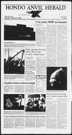 Primary view of object titled 'Hondo Anvil Herald (Hondo, Tex.), Vol. 118, No. 4, Ed. 1 Thursday, January 22, 2004'.