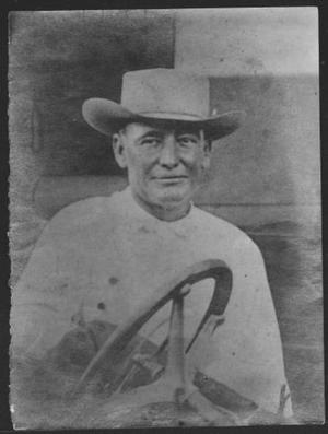 Primary view of object titled '[Thomas Walter (Bud) Davis wearing a felt hat]'.