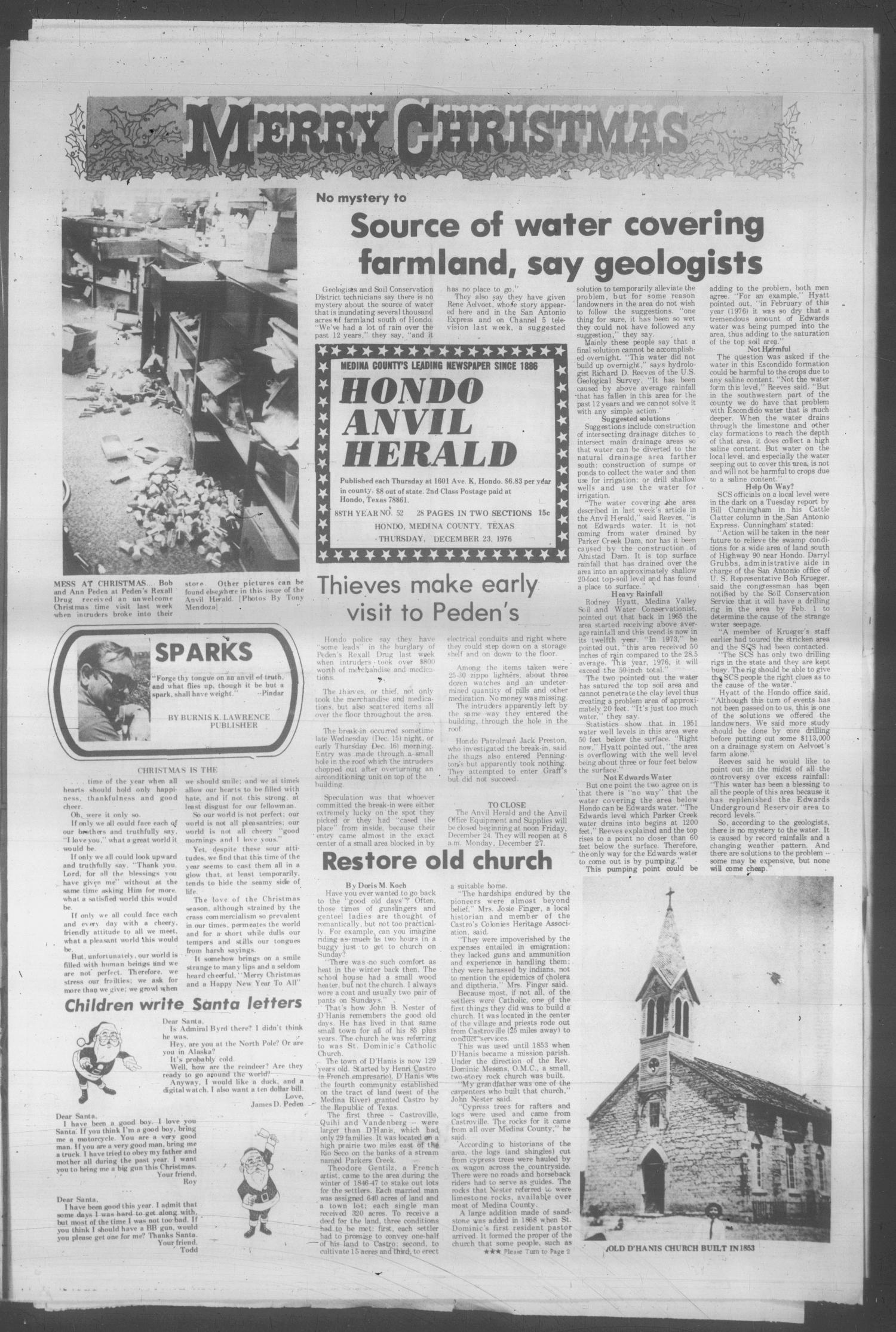 Hondo Anvil Herald (Hondo, Tex.), Vol. 88, No. 52, Ed. 1 Thursday, December 23, 1976                                                                                                      [Sequence #]: 1 of 26