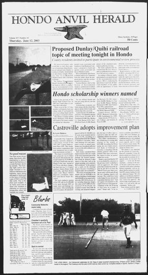 Primary view of object titled 'Hondo Anvil Herald (Hondo, Tex.), Vol. 117, No. 24, Ed. 1 Thursday, June 12, 2003'.