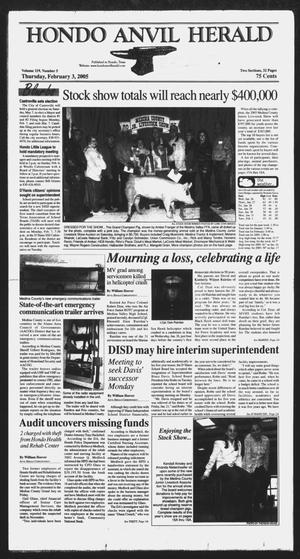 Primary view of object titled 'Hondo Anvil Herald (Hondo, Tex.), Vol. 29, No. 5, Ed. 1 Thursday, February 3, 2005'.