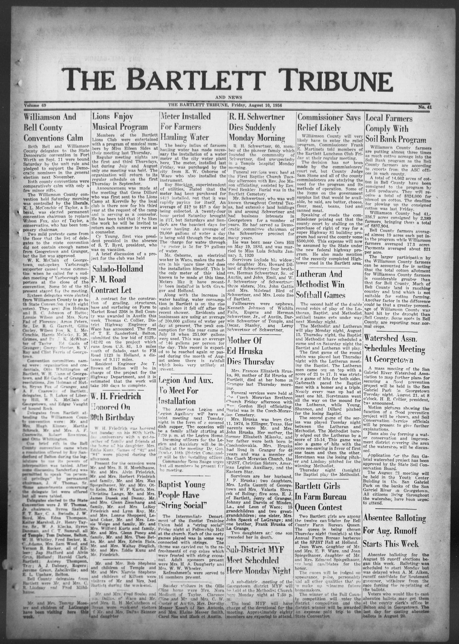 The Bartlett Tribune and News (Bartlett, Tex.), Vol. 69, No. 41, Ed. 1, Friday, August 10, 1956                                                                                                      [Sequence #]: 1 of 8