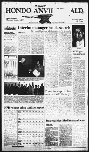 Primary view of object titled 'Hondo Anvil Herald (Hondo, Tex.), Vol. 113, No. 1, Ed. 1 Thursday, January 7, 1999'.