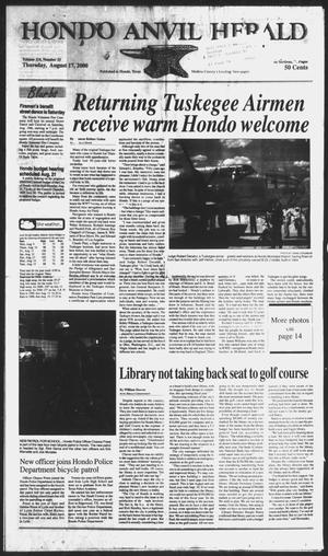 Primary view of object titled 'Hondo Anvil Herald (Hondo, Tex.), Vol. 114, No. 33, Ed. 1 Thursday, August 17, 2000'.