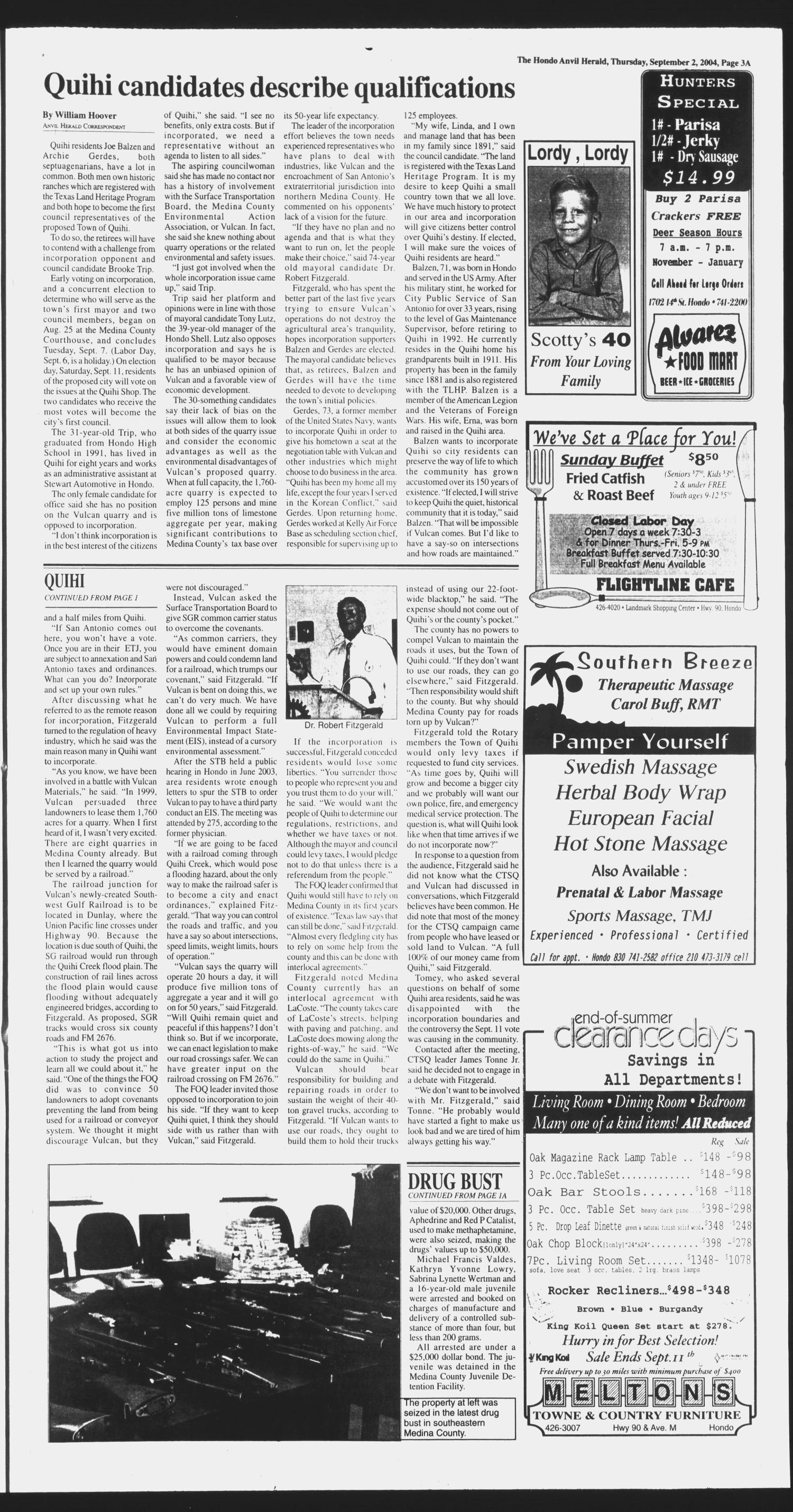 Hondo Anvil Herald (Hondo, Tex.), Vol. 118, No. 36, Ed. 1 Thursday, September 2, 2004                                                                                                      [Sequence #]: 3 of 102