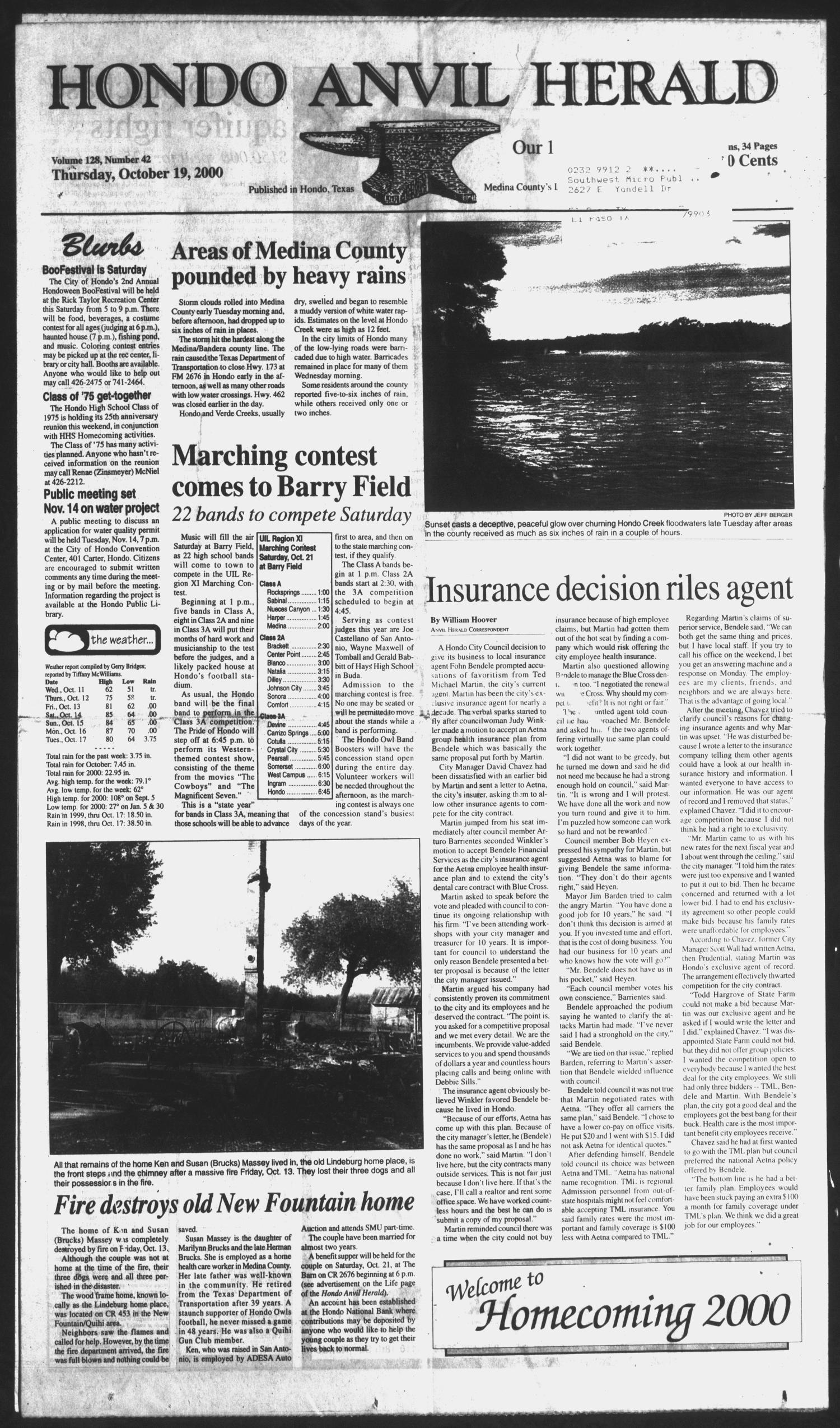 Hondo Anvil Herald (Hondo, Tex.), Vol. 128, No. 42, Ed. 1 Thursday, October 19, 2000                                                                                                      [Sequence #]: 1 of 50