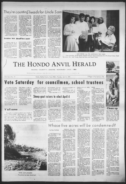 The Hondo Anvil Herald (Hondo, Tex ), Vol  83, No  14, Ed  1