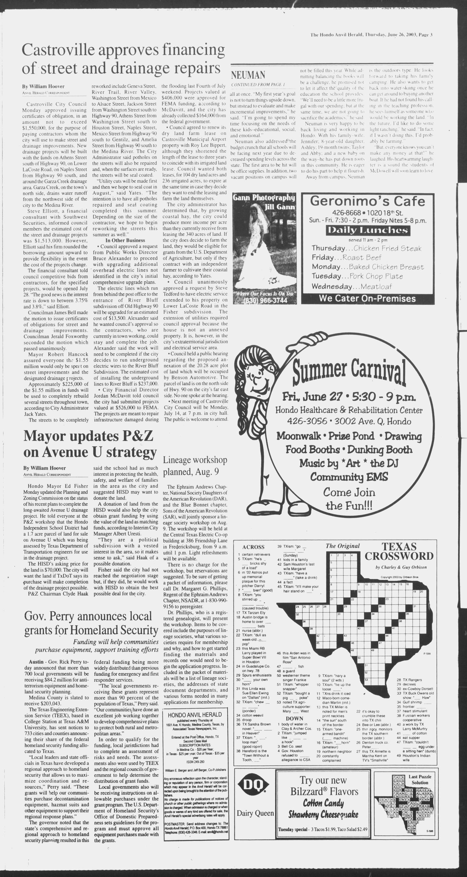 Hondo Anvil Herald (Hondo, Tex.), Vol. 117, No. 26, Ed. 1 Thursday, June 26, 2003                                                                                                      [Sequence #]: 3 of 58