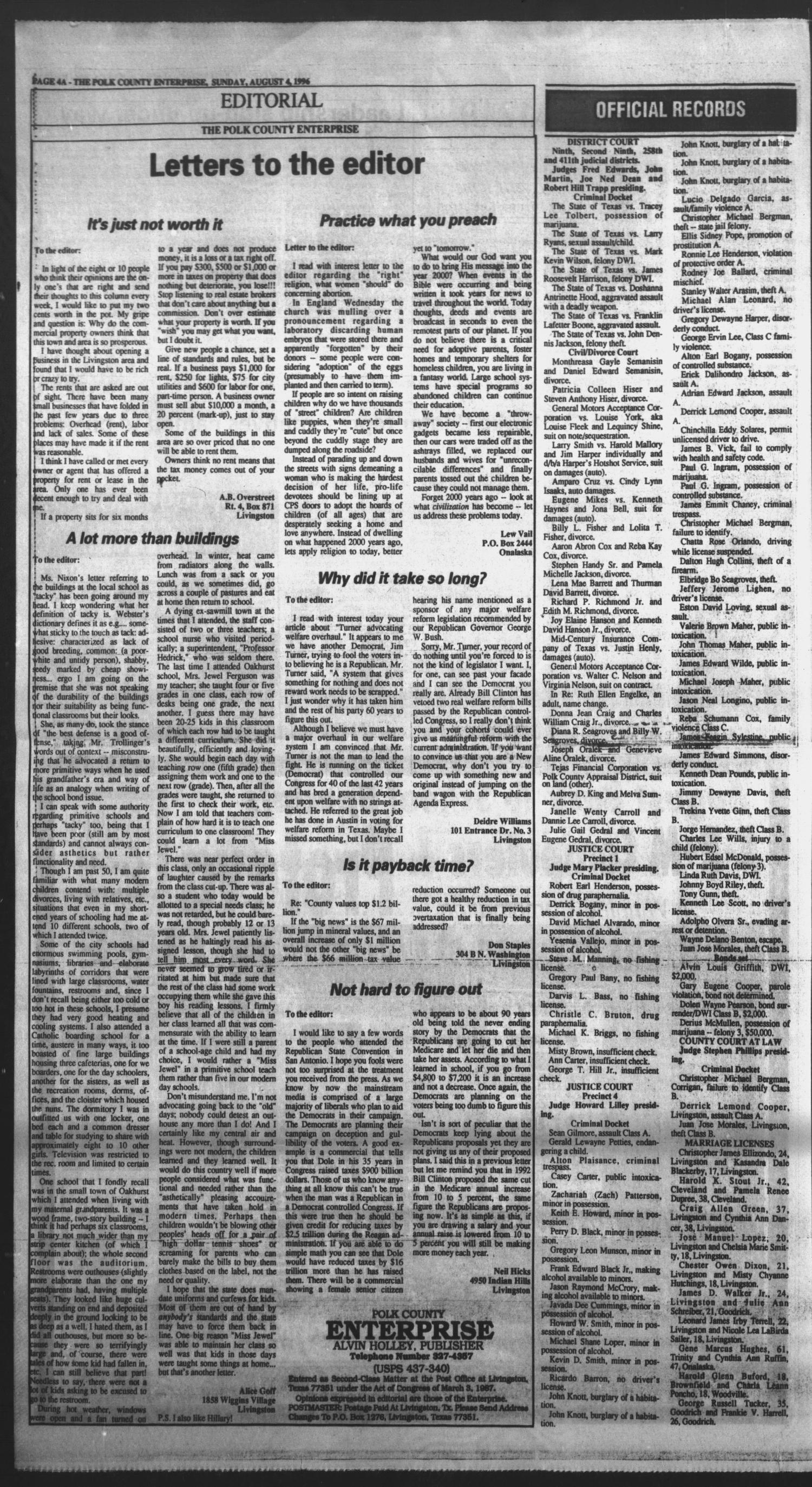 Polk County Enterprise (Livingston, Tex.), Vol. 114, No. 62, Ed. 1 Sunday, August 4, 1996                                                                                                      [Sequence #]: 4 of 22