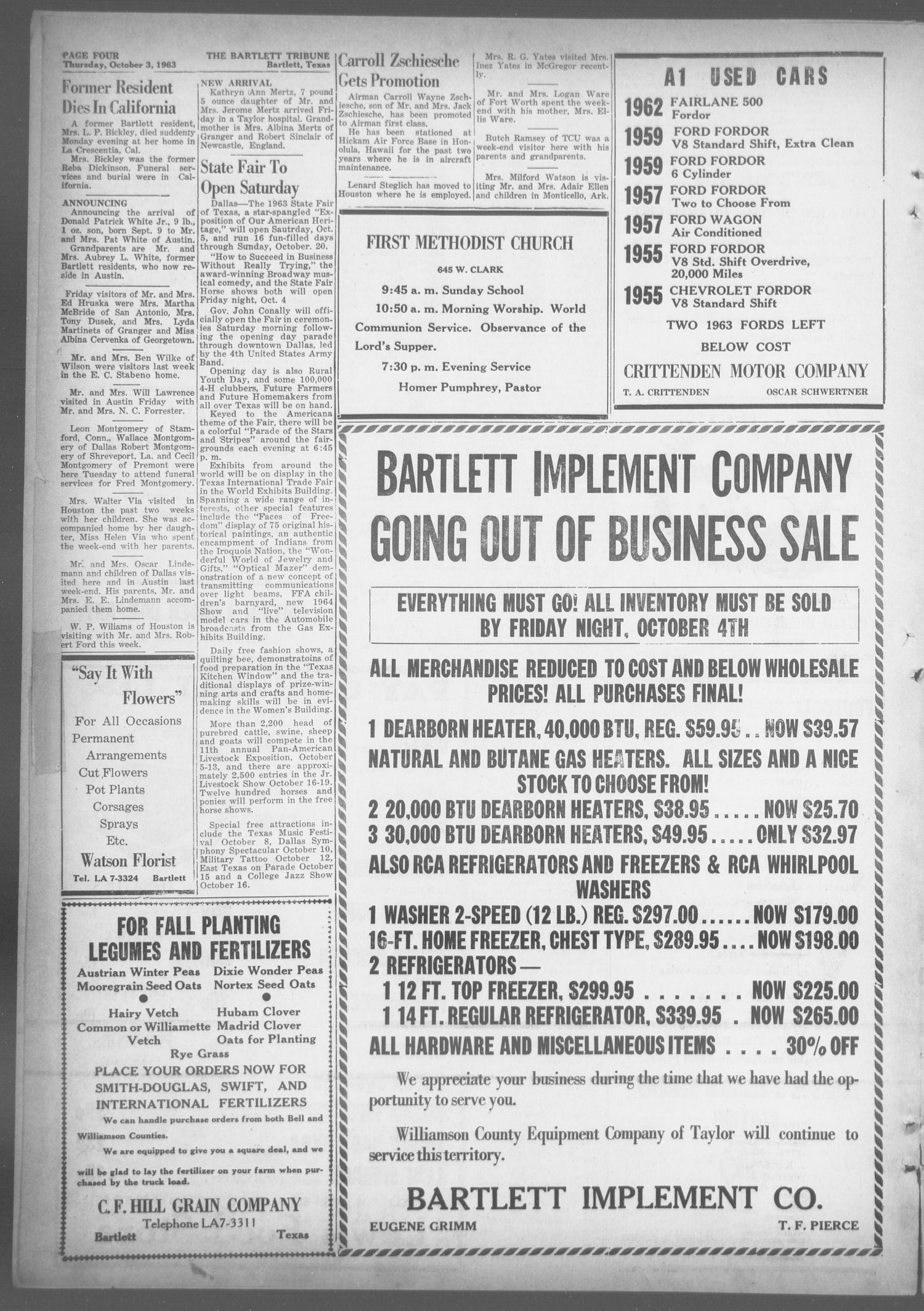 The Bartlett Tribune and News (Bartlett, Tex.), Vol. 76, No. 48, Ed. 1, Thursday, October 3, 1963                                                                                                      [Sequence #]: 4 of 8