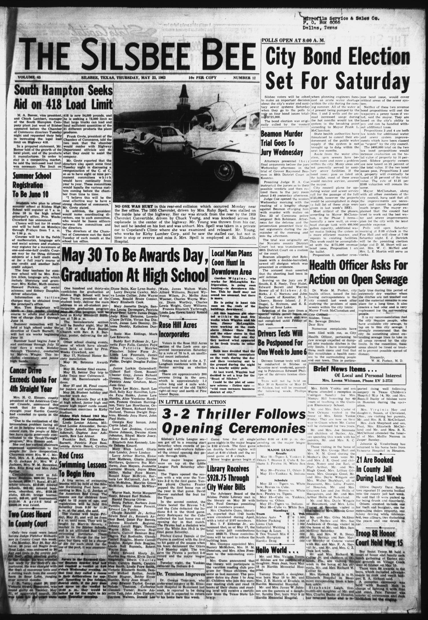 The Silsbee Bee (Silsbee, Tex.), Vol. 45, No. 12, Ed. 1 Thursday, May 23, 1963                                                                                                      [Sequence #]: 1 of 12