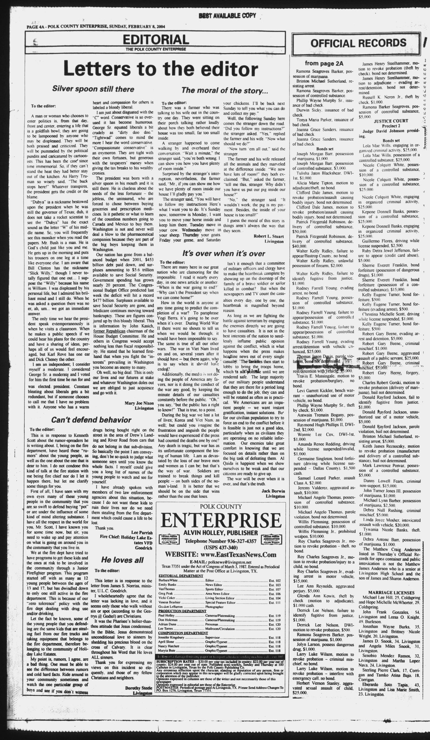 Polk County Enterprise (Livingston, Tex.), Vol. 122, No. 12, Ed. 1 Sunday, February 8, 2004                                                                                                      [Sequence #]: 4 of 50