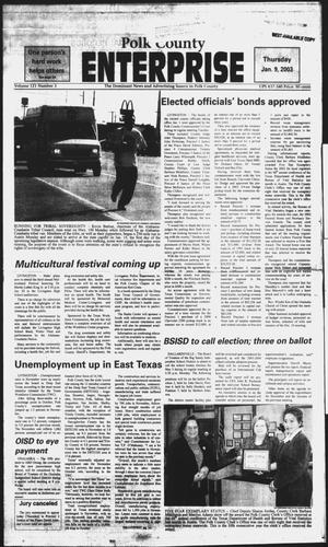 Primary view of object titled 'Polk County Enterprise (Livingston, Tex.), Vol. 121, No. 3, Ed. 1 Thursday, January 9, 2003'.