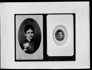 [A photograph of Lizzie Lamar George and a photograph of Ezekial George]