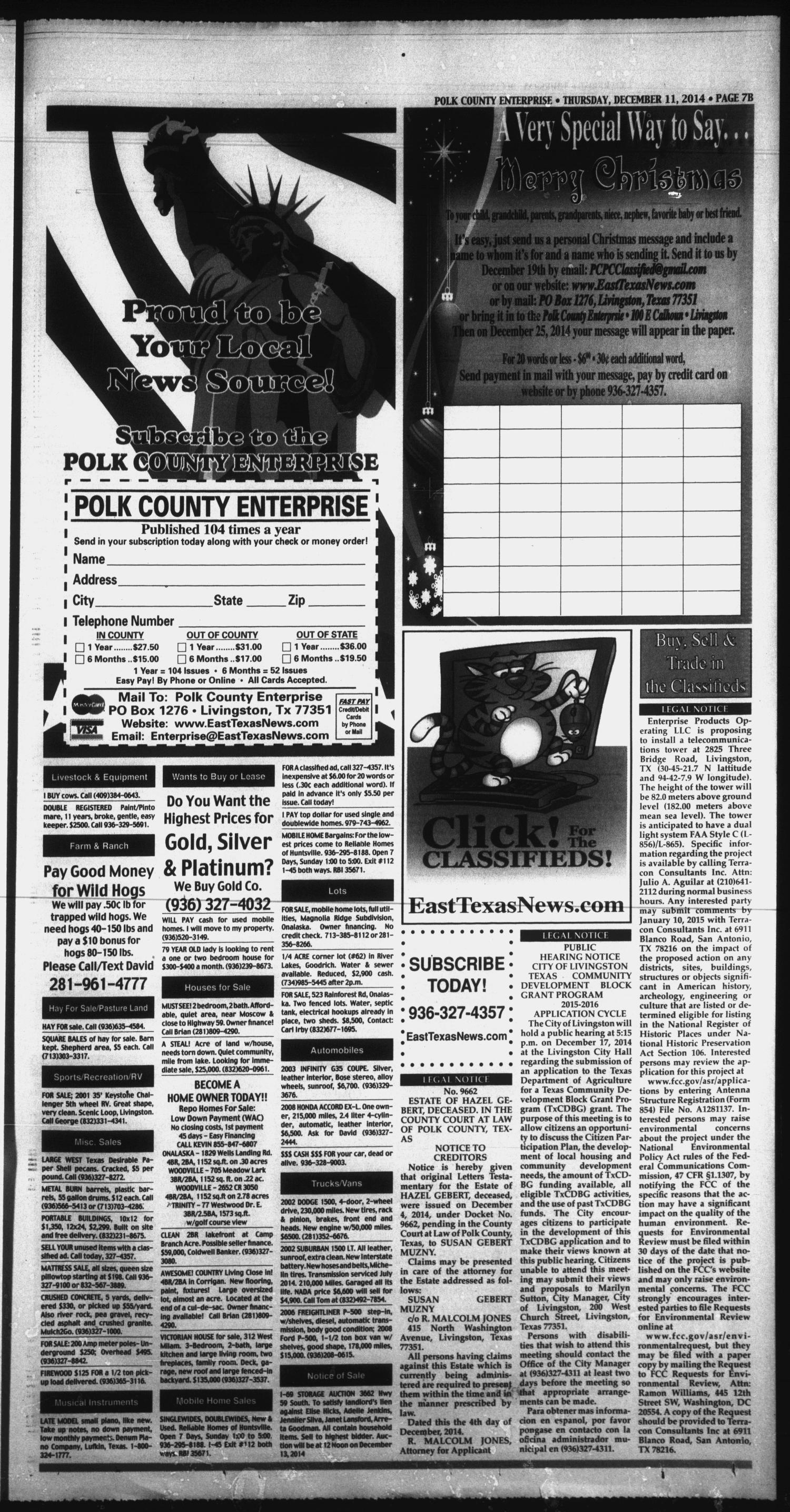 Polk County Enterprise Livingston Tex Vol 132 No 99 Ed 1 Thursday December 11 2017 Page 15 Of 42 The Portal To Texas History