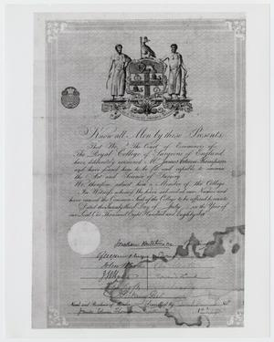 Surgical Certificate for James Edwin Thompson