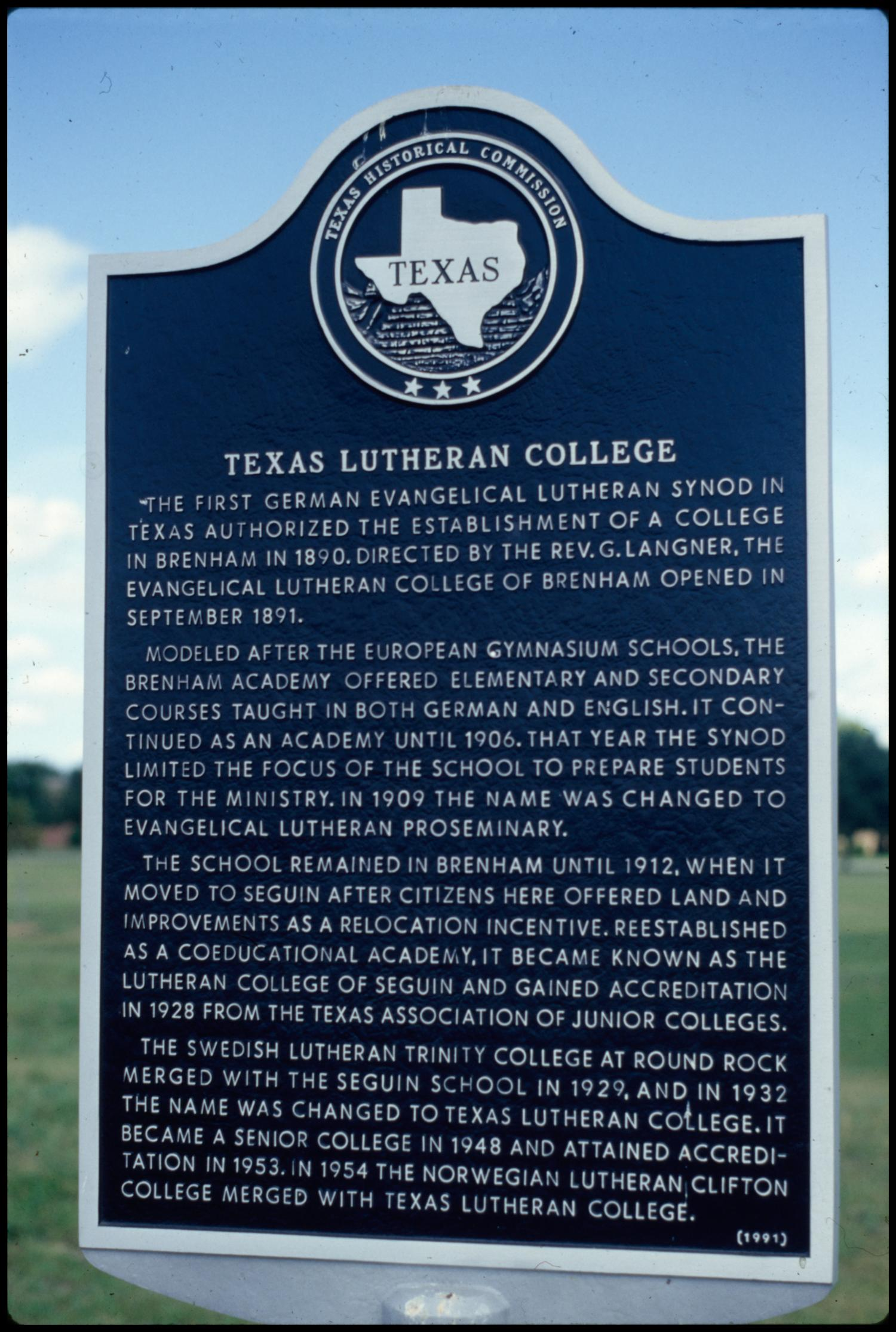Texas Lutheran College Historic Marker] - The Portal to