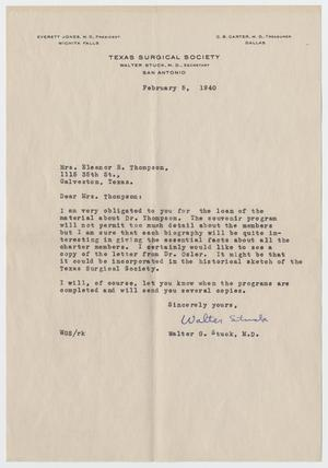 Primary view of object titled '[Letter from Mrs. Eleanor R. Thompson to Walter G. Stuck - February 5, 1940]'.