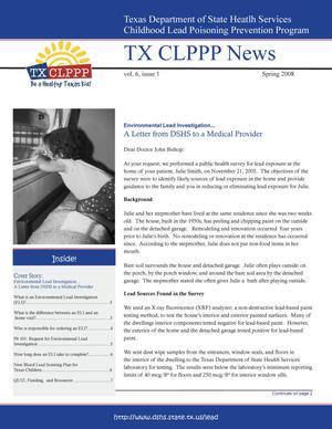 TX CLPPP News, Volume 6, Number 1, Spring 2008