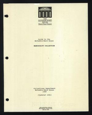 Primary view of object titled 'Guide to the McFaddin-Ward House Manuscript Collection'.
