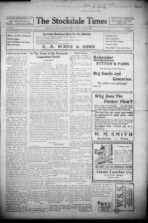 Primary view of object titled 'The Stockdale Times (Stockdale, Tex.), Vol. 9, Ed. 1 Friday, July 26, 1918'.