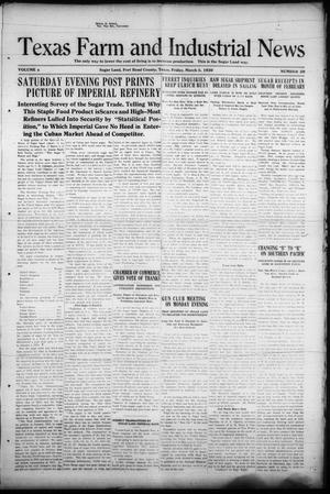 Primary view of object titled 'Texas Farm and Industrial News (Sugar Land, Tex.), Vol. 8, No. 20, Ed. 1 Friday, March 5, 1920'.