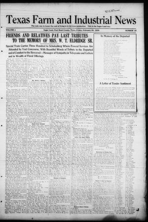 Primary view of object titled 'Texas Farm and Industrial News (Sugar Land, Tex.), Vol. 8, No. 18, Ed. 1 Friday, February 20, 1920'.