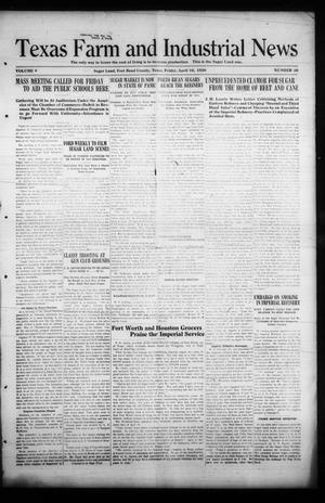 Primary view of object titled 'Texas Farm and Industrial News (Sugar Land, Tex.), Vol. 8, No. 26, Ed. 1 Friday, April 16, 1920'.