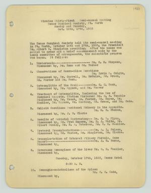[Texas Surgical Society Minutes: October 16, 1933 #2]