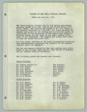 Primary view of object titled '[Texas Surgical Society Minutes: April 2, 1956]'.