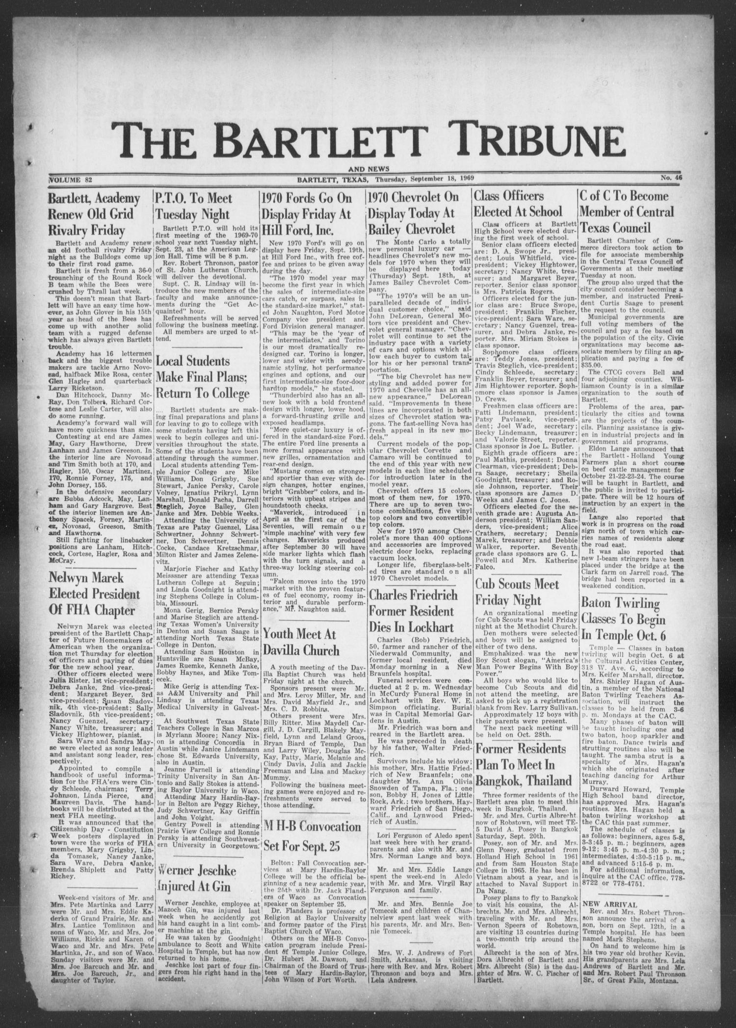 The Bartlett Tribune and News (Bartlett, Tex.), Vol. 82, No. 46, Ed. 1, Thursday, September 18, 1969                                                                                                      [Sequence #]: 1 of 8