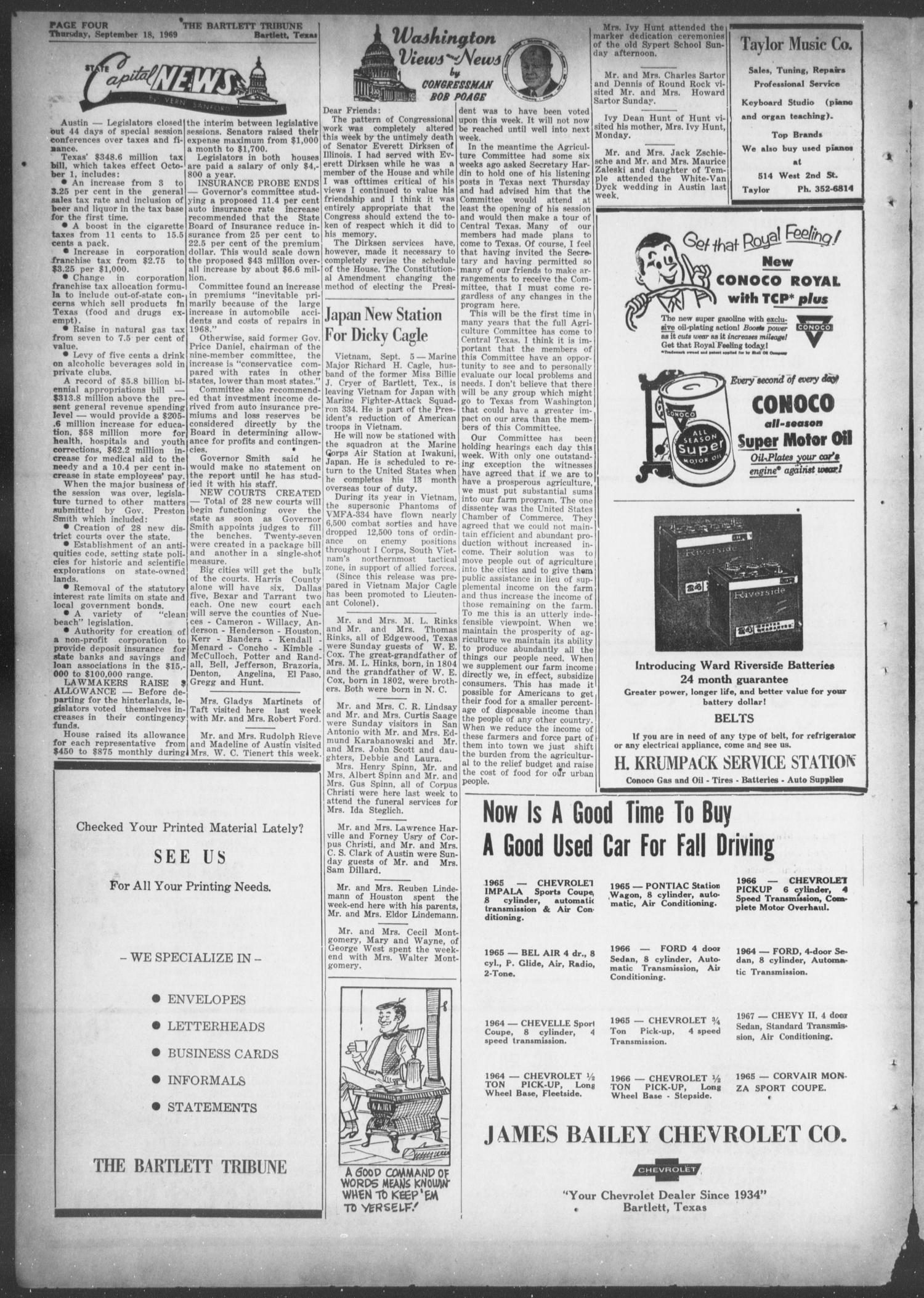 The Bartlett Tribune and News (Bartlett, Tex.), Vol. 82, No. 46, Ed. 1, Thursday, September 18, 1969                                                                                                      [Sequence #]: 4 of 8