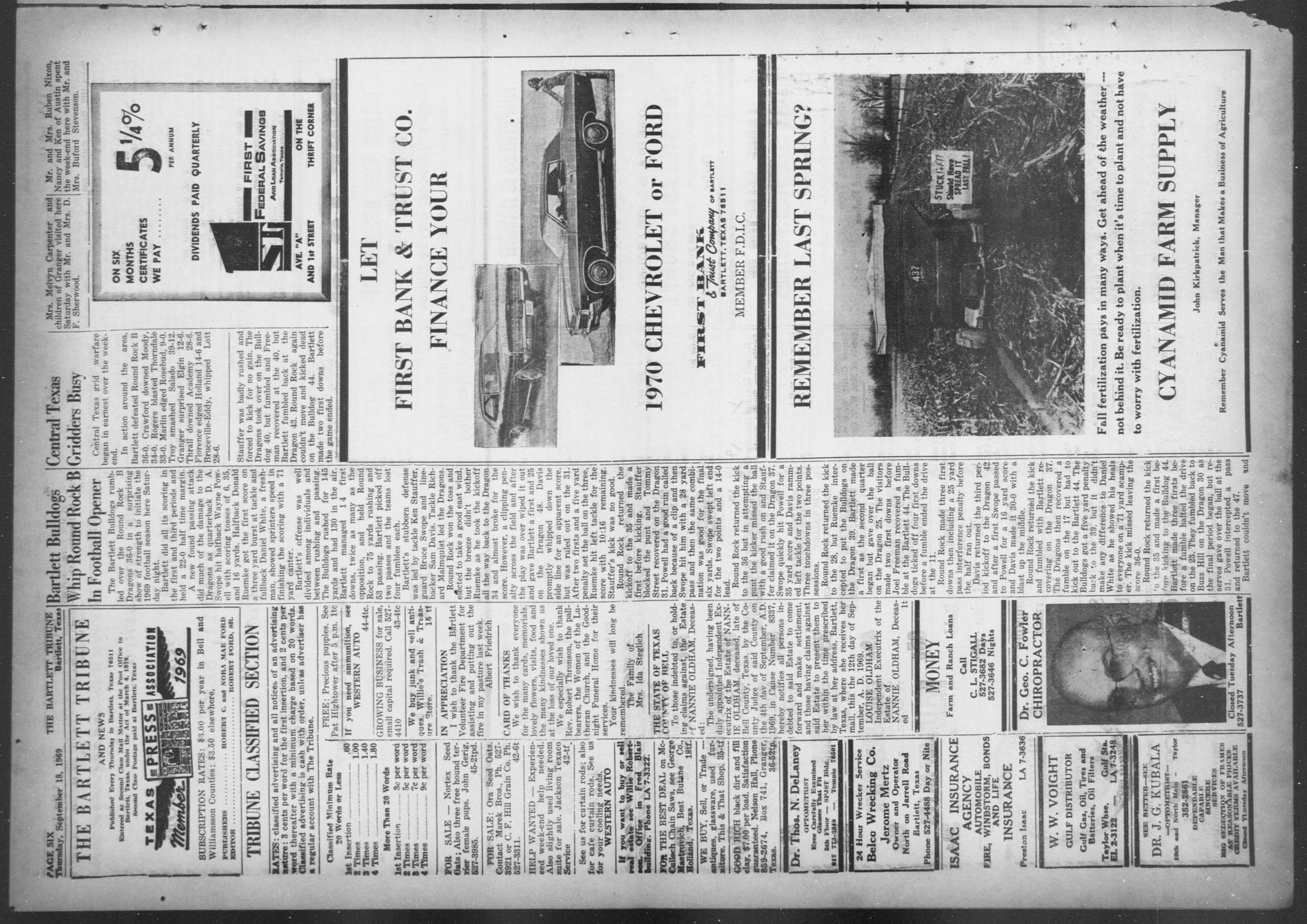 The Bartlett Tribune and News (Bartlett, Tex.), Vol. 82, No. 46, Ed. 1, Thursday, September 18, 1969                                                                                                      [Sequence #]: 6 of 8